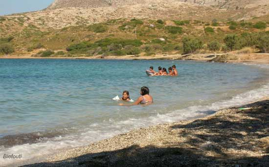 kids playing in the sea at Blefouti